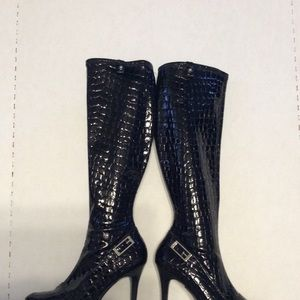 Guess black patent leather knee high boots
